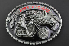 BIKER BORN TO BE FREE BELT BUCKLE METAL