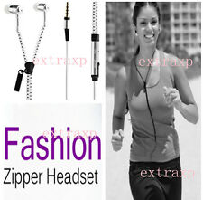 Zipper Style In-Ear Zip Hands-free Headphones Earphone w/Mic-controls in White