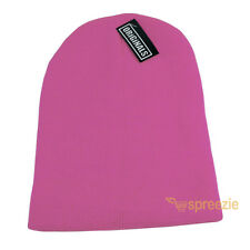Pink Skull Cap Plain Beanie Knitted Ski Hat Skully Warm Winter Solid Headwear