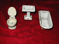 Antique Dollhouse Miniature KILGORE Metal Furniture 3 Pieces BATHROOM CAST IRON