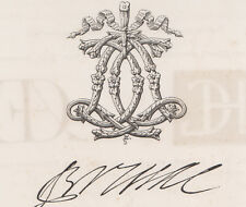 Monogramma, cifre, lettera A C bulino del 1882