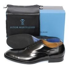 "New SUTOR MANTELLASSI ""Spazzolato"" Black Captoe Oxford Shoes UK 10 US 11 D $780"