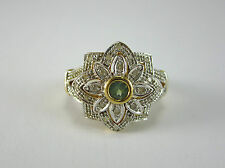BEAUTIFUL LADIES 10K TWO-TONE GOLD DIAMOND & PERIDOT RING 3.7G SZ 7.25