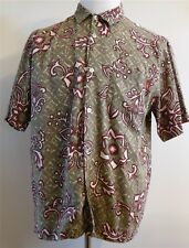 Billabong Short Sleeve Hawaiian Green/Red Floral Button-Up Shirt L Large