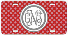 Personalized Monogrammed Polka Dot Red License Plate Custom Car Tag L478