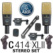 AKG C 414 C414 XLII ST Condenser Microphones Matched Stereo Set Pair - Open Box