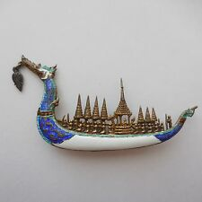 Vintage Siam 925 Sterling Silver Blue and White Enamel Dragon Boat Pin 2.75 Inch