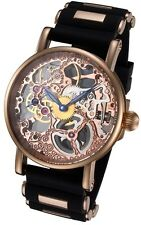 Rougois Rosarita Gold Tone Mechanical Skeleton Watch - Silicone Band