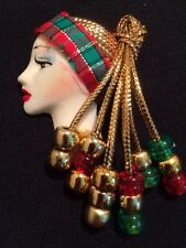 Art Deco Style Pretty Face Pin Brooch Vintage Jewelry Gold Thread Holiday Hat