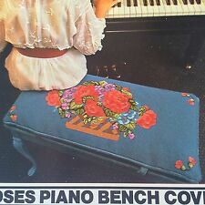 """New Roses Piano Bench Cover Needlepoint Kit 13.5x28.5"""" Canvas Floral BH&G"""