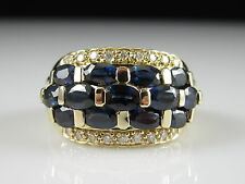 Sapphire Diamond Ring 14K Yellow Gold ESX Wide Band 4.73ctw Royal Blue Oval