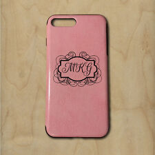 Personalized Monogram iPhone 7 Plus PU Leather Case - Pink - Engraved in USA