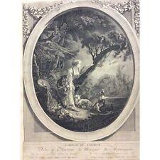 L'arrivée du courrier FRANCOIS BOUCHER Graveur JACQUES-FIRMIN BEAUVARLET 1765
