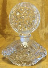 "Vtg 6"" Pressed Glass Perfume Bottle: Unique Round Stopper w Embossed Circle Dots"