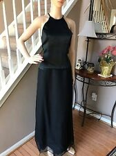 Vera Wang White Label Black Formal Long Gown Prom Cocktail Halter Dress 6