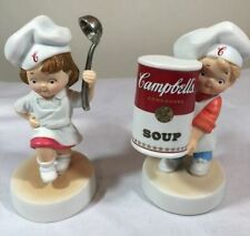 "Campbells Soup Porcelain Chef Boy & Girl Porcelain Figurines 4"" Kids NIB NOS"