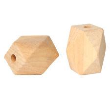 10x Geometric Holzperlen natur 20mm Holz
