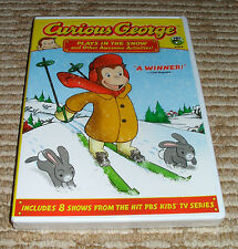 "Curious George ""Plays in the Snow"" DVD. New! Includes 8 Shows, 1 hr 48 Minutes."