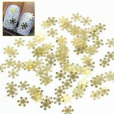 100Pcs Nail Art Design Tips Decoration Metallic Gold Snowflake Decals Xmas