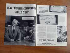 1960 Chrysler Ad Certified Car Care Plan Spells it Out