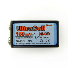1 x 9V Volt 160mAh Ni-Cd Rechargeable Battery Ultracell PP3 6F22 17R8H