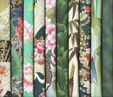 10 GREEN ASIAN JAPANESE ORIENTAL FAT QUARTER QUILT FABRIC: 2 1/2 Yds
