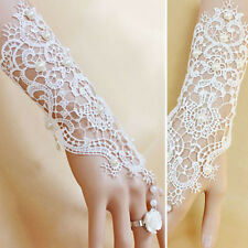Victorian Gothic Lolita White Floral Lace Cutout White Rose Slave Bracelet Rings