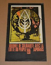Political POSTER.OSPAAAL.Solidarity wth Japan.Japanese.1968 authentic art.French