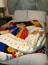 Elvis Presley Vegas Gold The King fleece blanket  throw NEW
