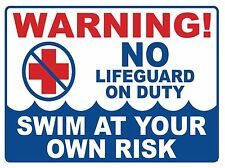 NO LIFE GUARD ON DUTY - SIGN - #PS-437