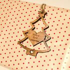 Personalised Rustic Wooden Christmas Tree Gift Tags. Vintage Iroko Decorations.