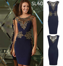 Sz 8 10 Blue Lace Sleeveless Sexy Formal Prom Cocktail Party Slim Fit Mini Dress