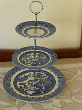 VINTAGE ROYAL WESSEX BLUE WILLOW 3 TIERED CAKE STAND ENGLAND