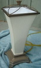 lamp w/attached inverted shade  art deco style textured shade  bronze accents