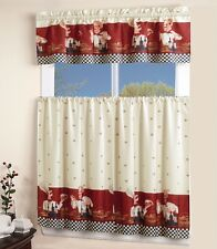 3 PC CHEF Kitchen window curtain dressing tier and swag valance decorative set