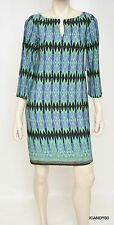 Nwt $148 LAUNDRY by Design Geometric Split-Neck Jersey Dress Top Tunic ~Blue *10