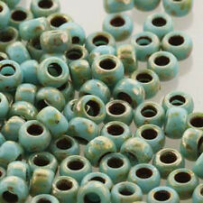 Matubo Czech Glass Seed Beads 6/0 (4.1mm) 8 Grams 1.6mm Hole (Turq Blue Picasso)