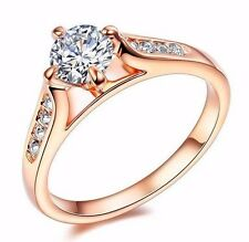 D/VVS1 Diamond Engagement Ring 1 Carat Round Cut 14k Rose Gold Bridal Jewelry