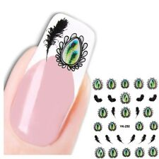3D Nagel Sticker Nail Art Medaillon Pfau New Design Kult Aufkleber Water Decall
