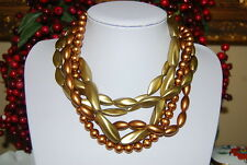WONDERFUL MULTI STRAND STATEMENT NECKLACE OF GOLDEN OLIVE & COPPER ACRYLIC BEADS