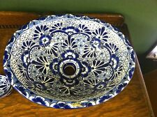 Mexican TALAVERA Pottery Oval Sink Basin-Blue White-Hechoen MEXICO - Handmade