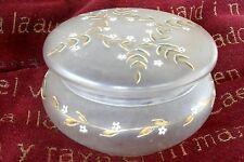 ancienne bonbonnière ou boîte à biscuits en verre émaillé 1900