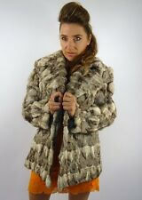 VINTAGE LUXE RABBIT FUR JACKET COAT SILVER GREY M