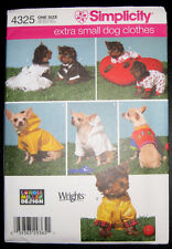 Simplicity 4325 Adorable Clothes for Extra Small Dogs Pattern