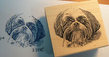 P14 Shitzu Dog Rubber Stamp WM 2.3x2""