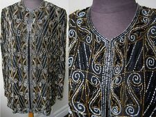 Vtg. Flawless & Opulent Gold and Jet Beaded Silk Evening Jacket Holiday Top Lg.