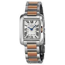Cartier Tank Anglaise Small Rose Gold and Stainless Steel Ladies Watch W5310036