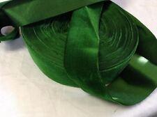 "5 Yards Green 1 3/4"" HANK FRENCH Vintage Silk Rayon Satin Back Velvet Ribbon"