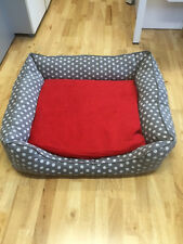 PET REBELLION DOG BED SPOTTY GREY - LARGE - MEMORY FOAM CRUMBS