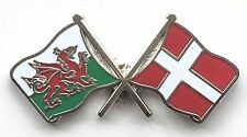 Wales & Denmark Flags Friendship Courtesy Enamel Lapel Pin Badge